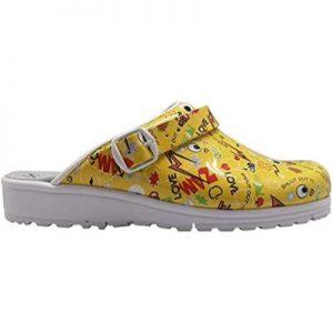 Sanita Footwear estampados Comic en amarillo